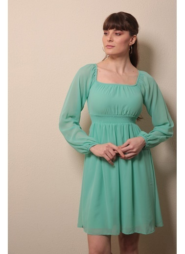 Reyon Kayık Yaka Elbise Mint Yeşil